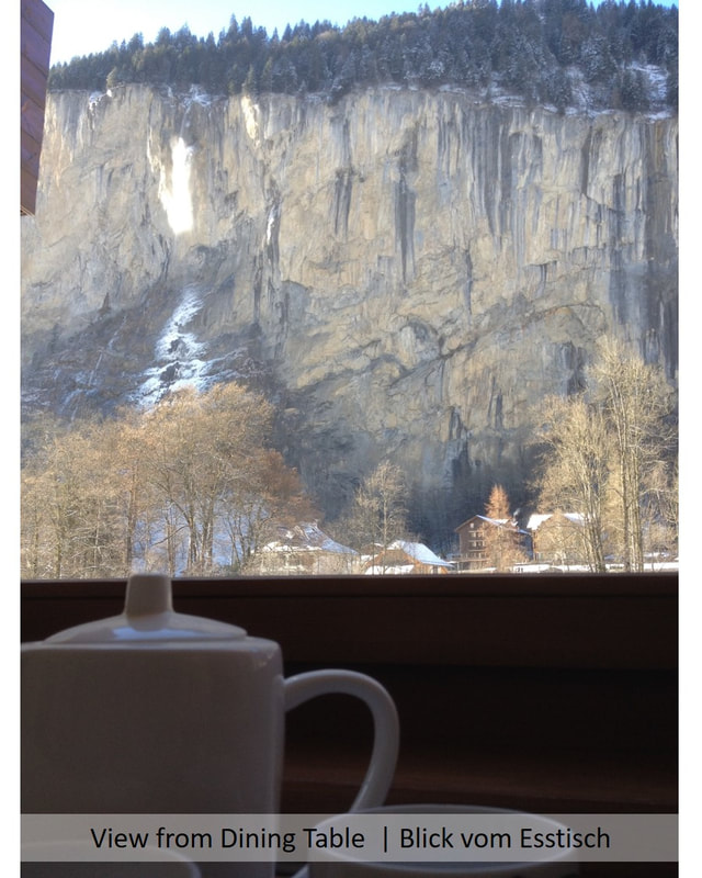 Dining table view to Staubbach Falls